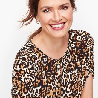 Talbots Leopard Ruched-Sleeve Top