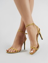 Public Desire Notion Squared Toe Barely There Heels in Mustard Snake Print