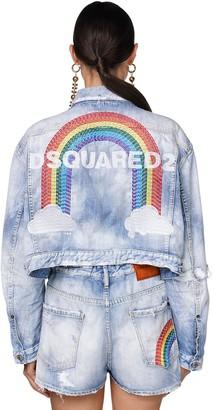 DSQUARED2 Denim Jacket W/back Rainbow Logo
