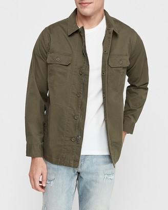 Express Twill Button-Up Shirt Jacket