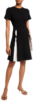 Oscar de la Renta Two-Tone Crepe Tie-Pleated Dress