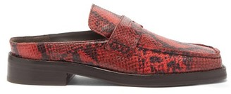 Martine Rose Arches Backless Python-effect Leather Loafers - Red