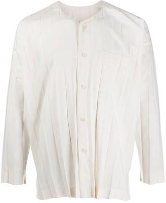 Homme Plissé Issey Miyake Pleated Collarless Shirt