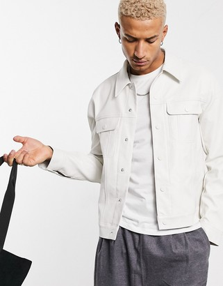 ASOS DESIGN faux leather western jacket in white