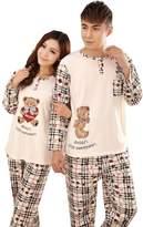 KM Pajamas KM Couples Long Sleeve Pullover Cotton Pajamas/nightgown Set 401# Bear