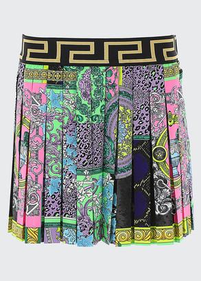 Versace Girl's Greek Key & Baroque Pleated Skirt, Size 4-6