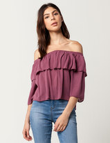 Hip Ruffle Womens Off The Shoulder Top