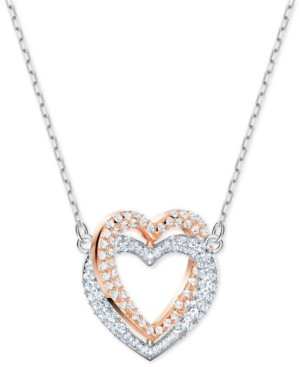 """Swarovski Two-Tone Crystal Double Heart Pendant Necklace, 14-7/8"""" + 2"""" extender"""