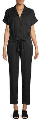 Lord & Taylor Self-Tie Zip-Front Jumpsuit