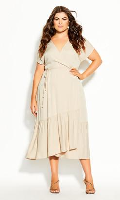 City Chic Kara Dress - buff