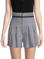 KENDALL + KYLIE Women's Belted Gingham Shorts - Black-white, Size l