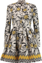Alice + Olivia Sacha pleated cotton-blend jacquard coat