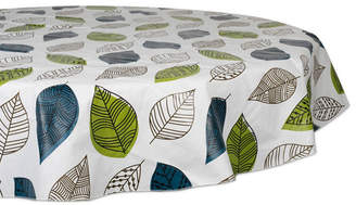 """Design Imports Leaves Vinyl Tablecloth 70"""" Round"""