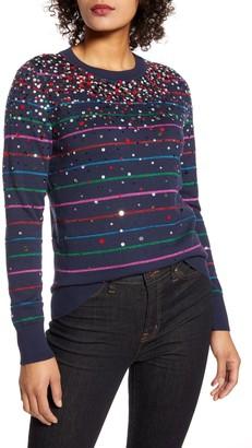 Halogen X Atlantic-Pacific Confetti Metallic Stripe Sweater