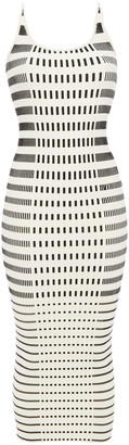 Paco Rabanne Striped Ribbed Cotton-blend Midi Dress