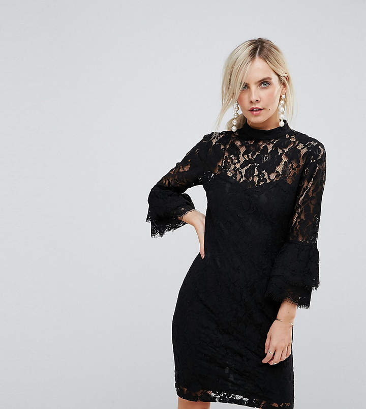 0005ad9779 Black Dress With Lace Frill - ShopStyle UK
