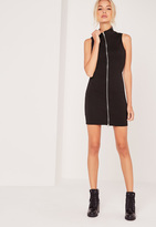 Missguided Zip Front Ribbed Mini Dress Black