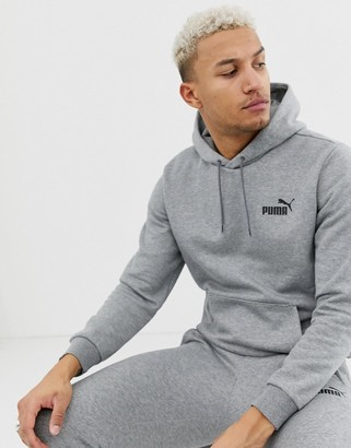 Puma Essentials hoodie with small logo in gray