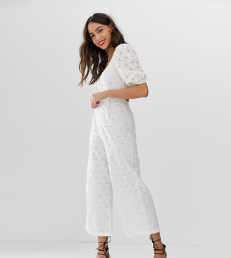 Asos Tall DESIGN Tall square neck puff sleeve jumpsuit in broderie-White