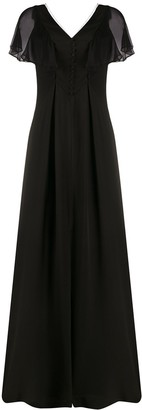 Karl Lagerfeld Paris Sheer Flutter Sleeve Gown