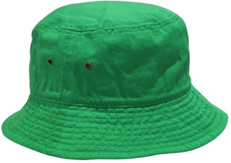 Newhattan Short Brim Visor Cotton Bucket Sun Hat - green - L/XL