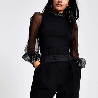 River Island Womens Black embellished trim long sheer sleeve top