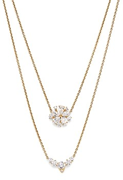 Nadri Leilani 18K Gold Plated Cubic Zirconia Flower Convertible Necklace, 16-17