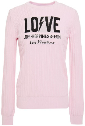 Love Moschino Jacquard And Ribbed-knit Sweater