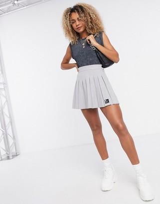 Bershka mini pleated tennis skirt in grey