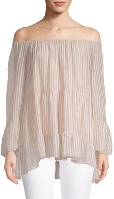 Le Marais Striped Off-The-Shoulder Silk Top