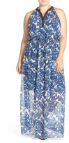 Vince Camuto Print Halter Style Chiffon Maxi Dress (Plus Size)