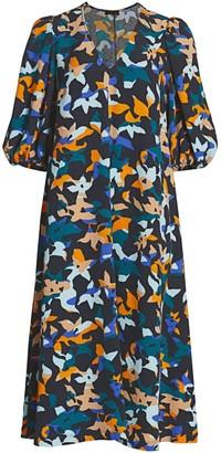 Stine Goya Mavelin Abstract Floral Midi Dress