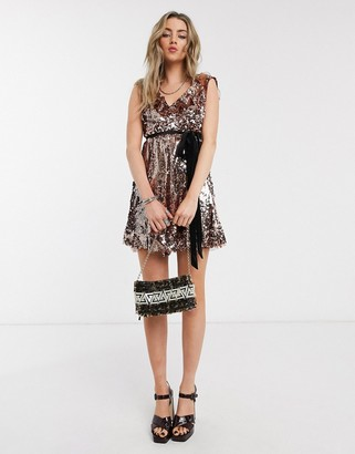 Free People Sequin Siren embellished dress-Pink