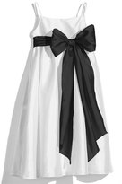 Us Angels Girl's White Sleeveless Empire Waist Taffeta Dress
