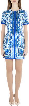 Dolce & Gabbana Blue and White Majolica Printed Silk Fitted Sheath Dress S