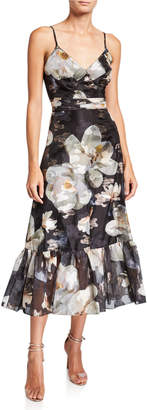 Marchesa Floral Fils Coupe V-Neck Sleeveless Ruffle-Hem Dress with Lace-Trim