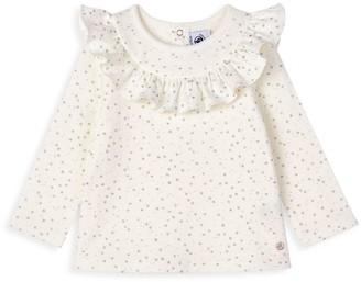 Petit Bateau Baby Girl's Ruffle Collar T-Shirt