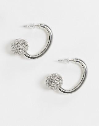 ASOS DESIGN hoop earrings with crystal ball end in silver tone