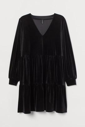 H&M H&M+ V-neck Velour Dress