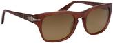 Persol Matte Opal Red & Brown Square Sunglasses