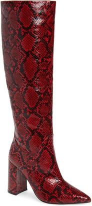 Jeffrey Campbell Siren Snake Embossed Knee High Boot