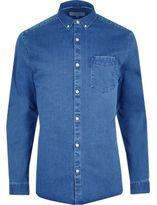 River Island Mens Big and Tall blue button-down denim shirt