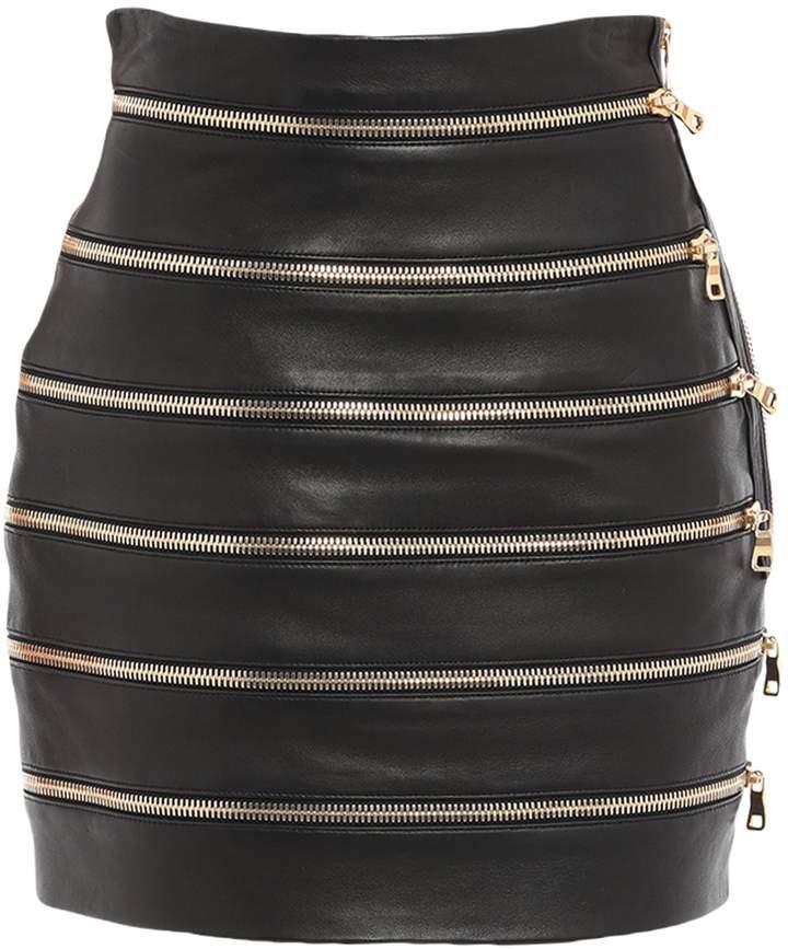 027f8395b5 Leather Skirt Balmain - ShopStyle