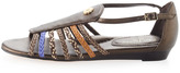 Eric Javits Grecot Low-Wedge Sandal, Suez
