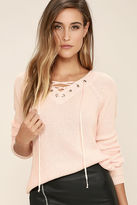 LuLu*s Welcome Home Peach Lace-Up Sweater
