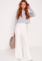 Missguided Wide Leg Crepe Pants White