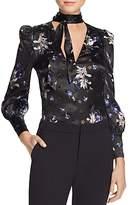 Rebecca Taylor Violet Tie-Neck Silk Blouse