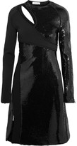 Thierry Mugler Cutout Sequined Bonded Jersey Mini Dress - Black