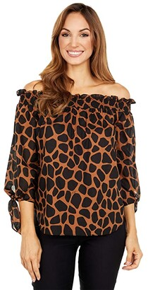MICHAEL Michael Kors Mega Bold Off Shoulder Top (Caramel) Women's Clothing