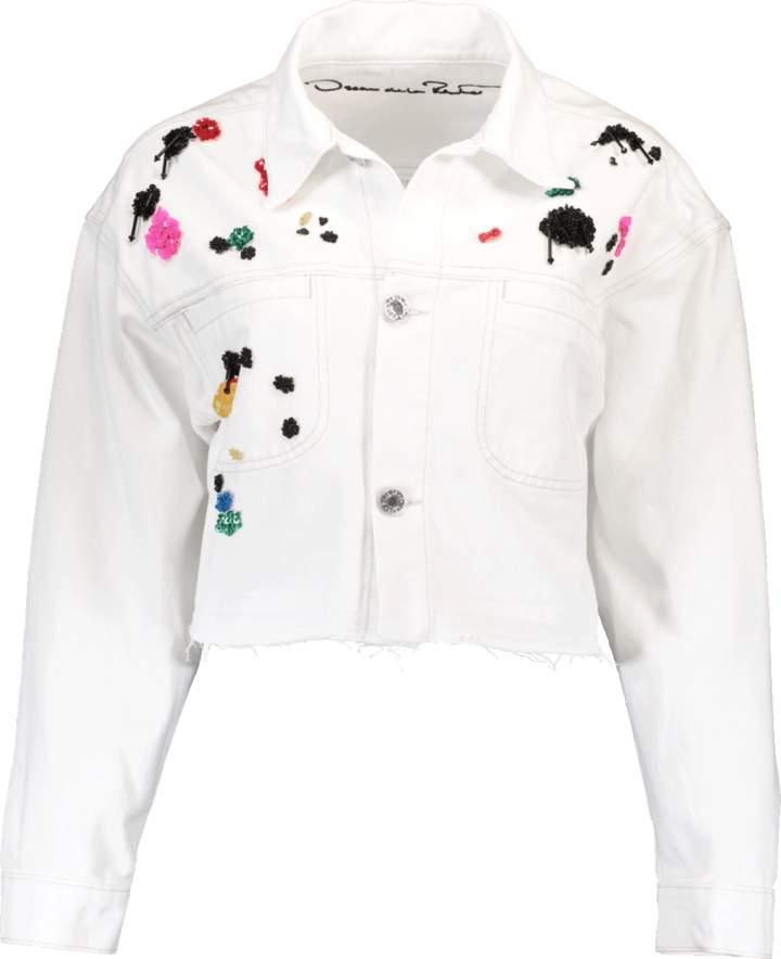 Oscar de la Renta Paint Splatter Denim Jacket
